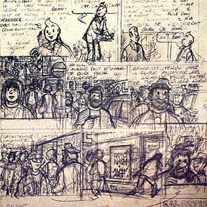 Boceto del último trabajo de Hergé: 'Tintín y el arte alfa'. (Foto: Diego Sinova)