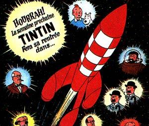 Cohete de 'Aterrizaje en la Luna', del que llegó a hacer una maqueta. (Foto: portada de la revista 'Tintin')