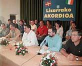 PNV, EA e IU-EB suscriben un acuerdo con HB para forzar un proceso de negociación del conflicto vasco. (Pablo Viñas)