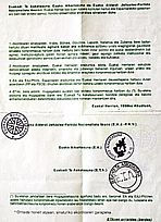 Documento firmado por ETA y los nacionalistas en agosto  de 1998, un primer acuerdo para un alto el fuego de cuatro meses del que nació  un mes después el anuncio de la tregua.