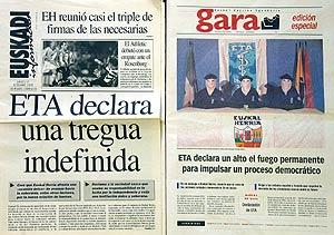 Portadas de periódicos anunciando la tregua
