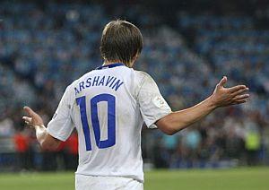Arshavin en la goleada de Rusia a holanda. (EFE)