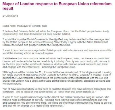 Declaración del Alcalde de Londres.