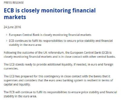 Comunicado del BCE