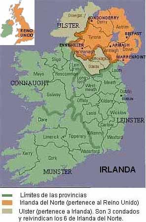 Proceso de paz en el Ulster Mapa y datos de Irlanda y Reino Unido