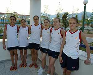 Las componentes del equipo femenino de gimnasia artística.