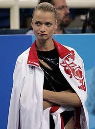 Khorkina, decepcionada./AP
