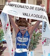 Iván Raña tras proclamarse campeón de España./ EFE