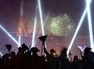 La luz y el color también fueron protagonistas de la ceremonia. (Foto: AFP)