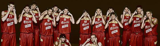La polémica fotografía de la selección de baloncesto.