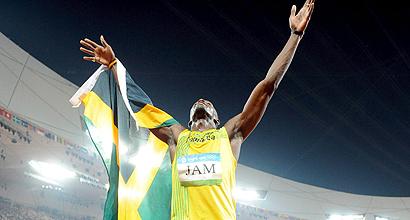 Usain Bolt, tras la final de 4x100. (EFE)
