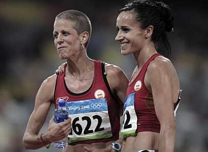 Natalia Rodriguez (izda.) e Iris Fuentes-Pila, finalistas en 1.500 metros. (EFE)