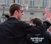Phelps, en la fiesta londinense para tomar el testigo olímpico.