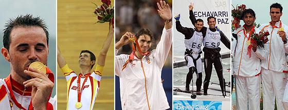 Samuel Sánchez, Joan Llaneras, Rafa Nadal, Fernando Echávarri, Antón Paz, Carlos Pérez y Saúl Craviotto, los oros españoles en Pekín. (Foto: AGENCIAS)