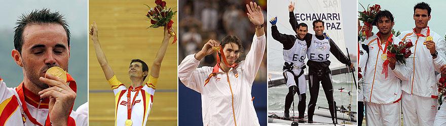 Los cinco oros españoles: Sánchez, Llaneras, Nadal, Paz y Echávarri, y Pérez y Craviotto. (Foto: AGENCIAS)
