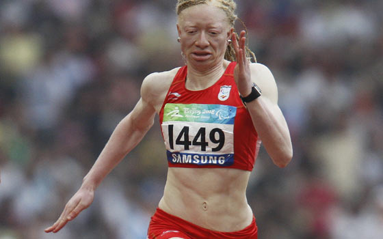 La velocista Eva Ngui en la prueba de 100 metros. (Foto: Servimedia).