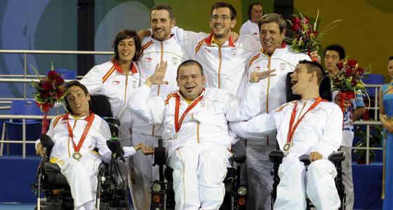 Algunos de los jugadores con gran discapacidad del equipo de boccia. (Foto: J. Regueros).