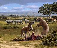 Reconstrucción del paisaje de la Casa de Campo hace 16 millones de años. (Dibujo: Mauricio Antón)