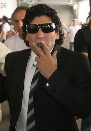 Maradona, a su llegada al Estadio Mundialista de Múnich. (Foto: AFP)