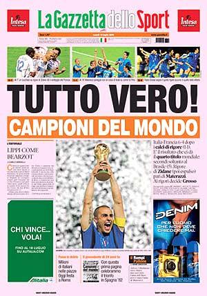 Portada de la 'Gazzetta dello Sport'.