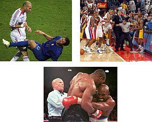 Combo de imágenes violentas del deporte. (Foto: AFP)