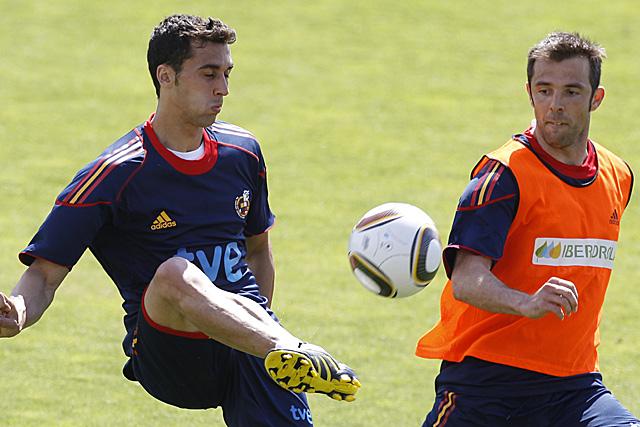 Arbeloa y Marchena, en un entrenamiento. (Foto: EFE)