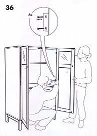 Imagen de un manual de Ikea en el que una 'mujer' sujeta la puerta de un armario.