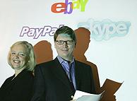 La presidenta y consejera delegada de EBay, Meg Whitman, junto a su homólogo en Skype, Niklas Zennstrom.(Foto: AP).