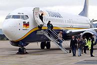 Aeronave de Ryanair en el aeropuerto de Gerona, su base en España. (Foto: EDDY KELELE)