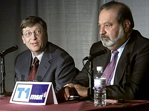 Carlos Slim (Derecha) junto a Bill Gates. (FOTO: AP/ Wilfredo Lee)