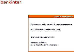 Mensaje de error en la web de Bankinter