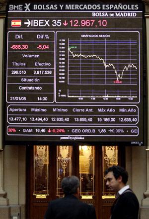 El Ibex registró el 21 de enero su mayor caída de su historia (Foto: EFE)