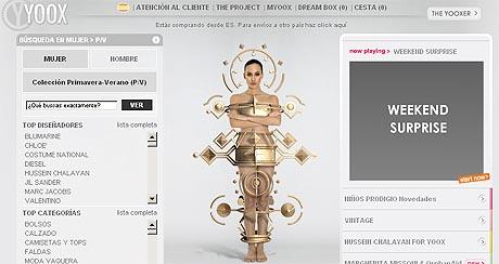 Imagen del portal de moda de lujo Yoox.