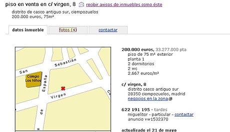 Anuncio del dueño del piso en un portal en el que vende la vivienda. (Foto: elmundo.es)