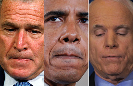 De izda. a drcha. Bush, Obama y McCain tras conocer el rechazo. (Fotos: REUTERS | AFP)
