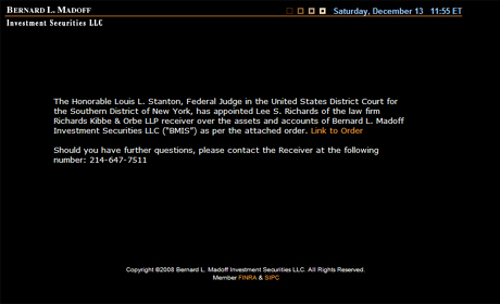 Página web de Bernad L. Madoff Investment Securities.