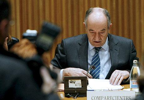 El gobernador del Banco de España, Miguel Ángel Fernández Ordóñez, durante su comparecencia en el Congreso, en Madrid. (FOTO: EFE)