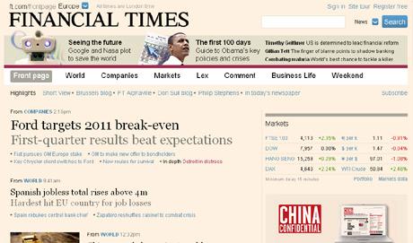 Portada del 'Financial Times' digital. El paro es la segunda noticia.