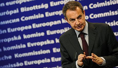 Zapatero, durante una rueda de prensa en Bruselas. | AFP