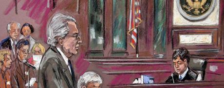 Bernard Madoff en un sketch artístico de la lectura de su sentencia . | Reuters