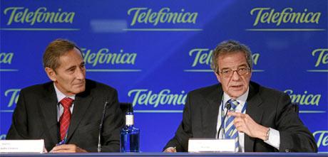 Julio Linares, consejero delegado y César Alierta, presidente de Telefónica. | A. Heredia