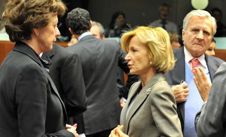 Elena Salgado, durante la reunión mensual del Ecofin en Bruselas. | Afp