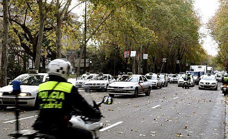 Protestas de taxistas en Madrid. | Efe
