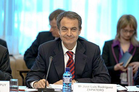 El presidente del Gobierno español José Luis Rodríguez Zapatero, al comienzo de la Cumbre europea. | Efe