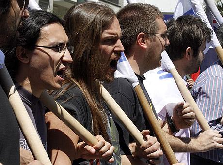 Varios manifestantes, durante las protestas del Día del Trabajo.   Ap