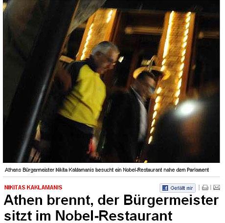 El alcalde de Atenas, abandonando el restaurante.   Imagen del Bild Zeitung