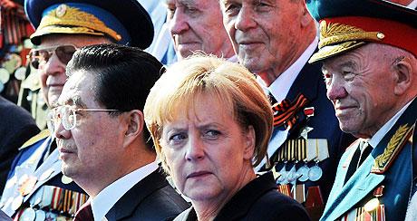 Merkel, durante su visita a Moscú de este domingo.   Afp