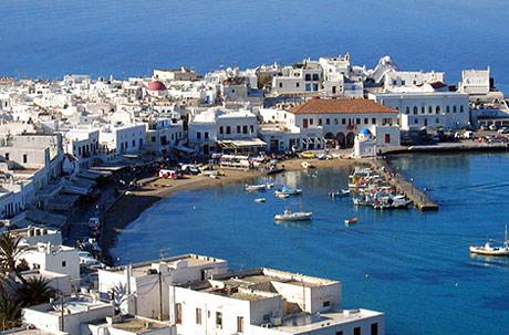 Imagen de la isla griega de Mykonos.