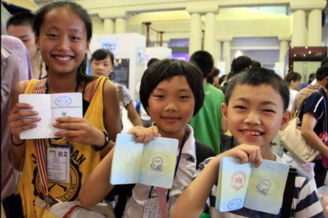 El sello oficial del molusco en la Expo de Shanghai.   China News Service