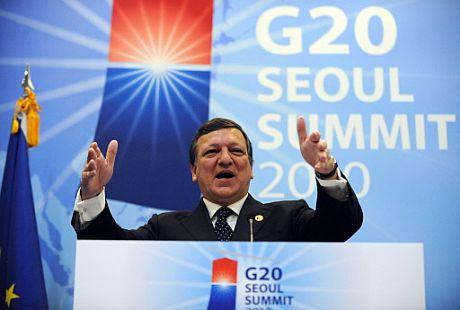 José Manuel Durao Barroso, en la cumbre del G-20 en Seúl.   AFP